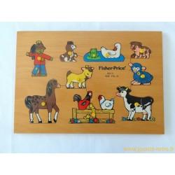 Puzzle en bois Animaux de la ferme Fisher Price 1971