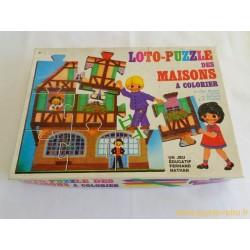 Loto Puzzle des maisons à colorier Nathan