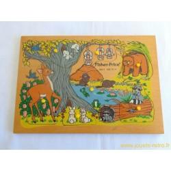 Puzzle en bois Animaux de la forêt Fisher Price 1982