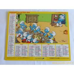 Almanach du facteur 1994 Les Schtroumpfs