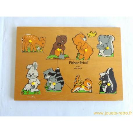 puzzle en bois b b s animaux fisher price 1982 jouets r tro jeux de soci t jeux vid o livres. Black Bedroom Furniture Sets. Home Design Ideas