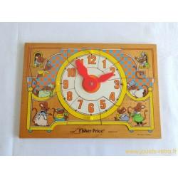 """Puzzle en bois """"souris horloge"""" Fisher Price 1982"""