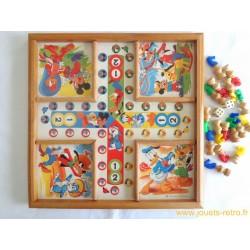 """Plateau de jeux """"petits chevaux"""" et """"jeu de l'oie"""" Disney en bois"""