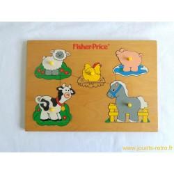"""Puzzle en bois """"Bébés animaux de la ferme"""" Fisher Price"""