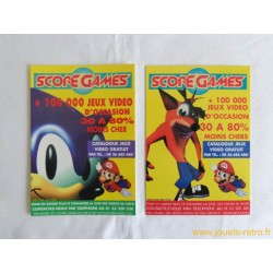 Lot de 2 cartes postales magasin Score Games