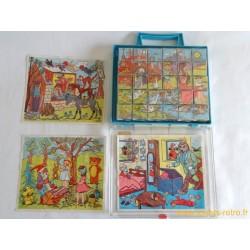 Boite 30 cubes puzzle vintage