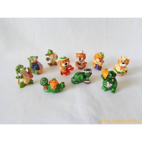 "lot figurines Kinder ""tortues"" ""Leoventuras"" ""Crazy Crocos"""