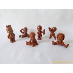 """""""Les Babies"""" lot de 6 figurines marron"""