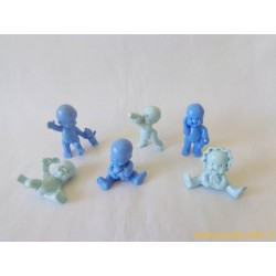 """""""Les Babies"""" lot de 6 figurines bleu pastel"""
