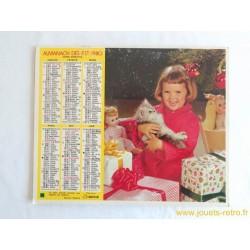 """Almanach des PTT 1980 """"enfant"""" """"chat"""""""