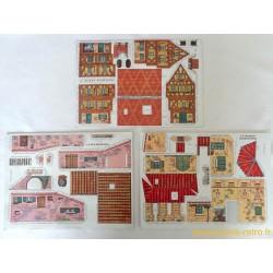3 planches maisons à découper en carton anciennes