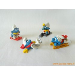 "Lot figurines Schtroumpfs ""sports d'hiver"" Peyo"