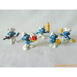 """Lot figurines Schtroumpfs """"cuisiniers"""" Peyo"""