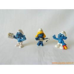 """Lot figurines Schtroumpfs """"lecteurs"""" Peyo"""