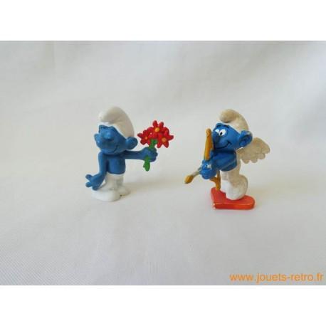 """Lot figurines Schtroumpfs """"amoureux"""" Peyo"""