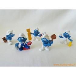 "Lot figurines Schtroumpfs ""travaux"" Peyo"