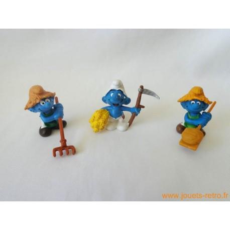 "Lot figurines Schtroumpfs ""paysans"" Peyo"