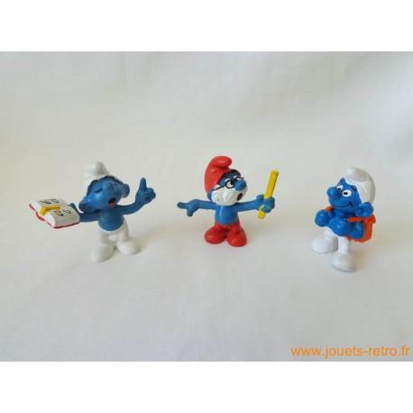"""Lot figurines Schtroumpfs """"école"""" Peyo"""