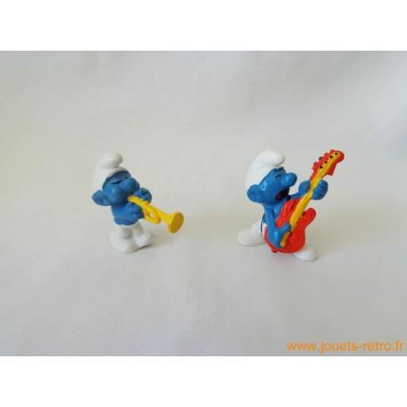 """Lot figurines Schtroumpfs """"musique 2"""" Peyo"""