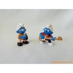 """Lot figurines Schtroumpfs """"musique 3"""" Peyo"""