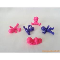 """""""Les Babies"""" lot de 5 figurines violet rose"""