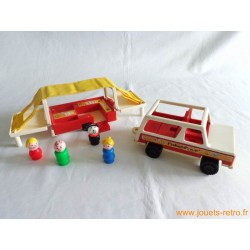 Voiture et caravane Fisher Price 1979