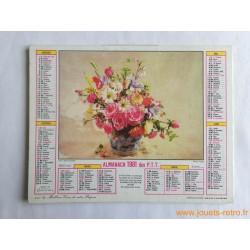"""Almanach des PTT 1981 """"fleurs lavande"""""""
