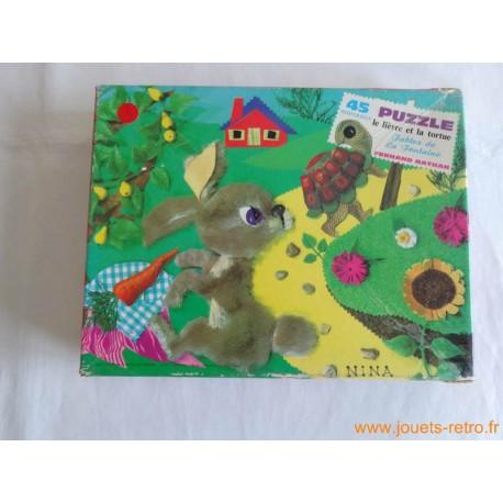 """Puzzle """"les fables de la fontaine"""" le lièvre et la tortue par Nina"""