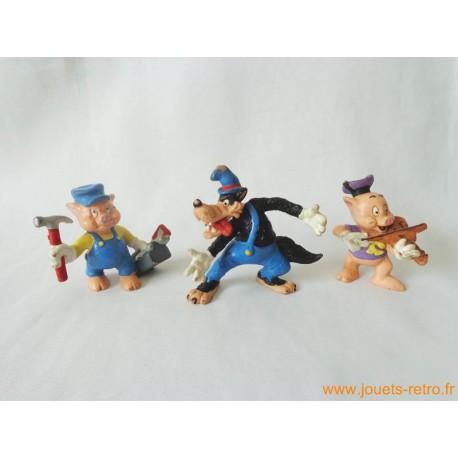 "Lot figurines ""Les trois petits cochons"" Bully"
