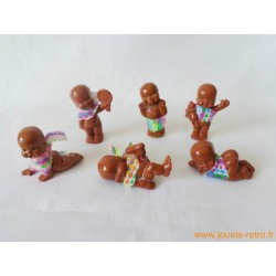 """""""Les Babies"""" lot de 6 figurines marrons + habits"""