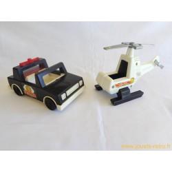 Voiture de police et hélicoptère Fisher Price 1981