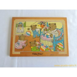 """Puzzle en bois """"famille ours"""" Fisher Price 1982"""