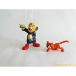 """Lot figurines Schtroumpfs """"Gargamel et Azrael"""" schleich Peyo 1982"""