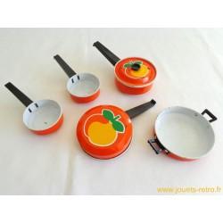 Dinette métal et plastique vintage orange